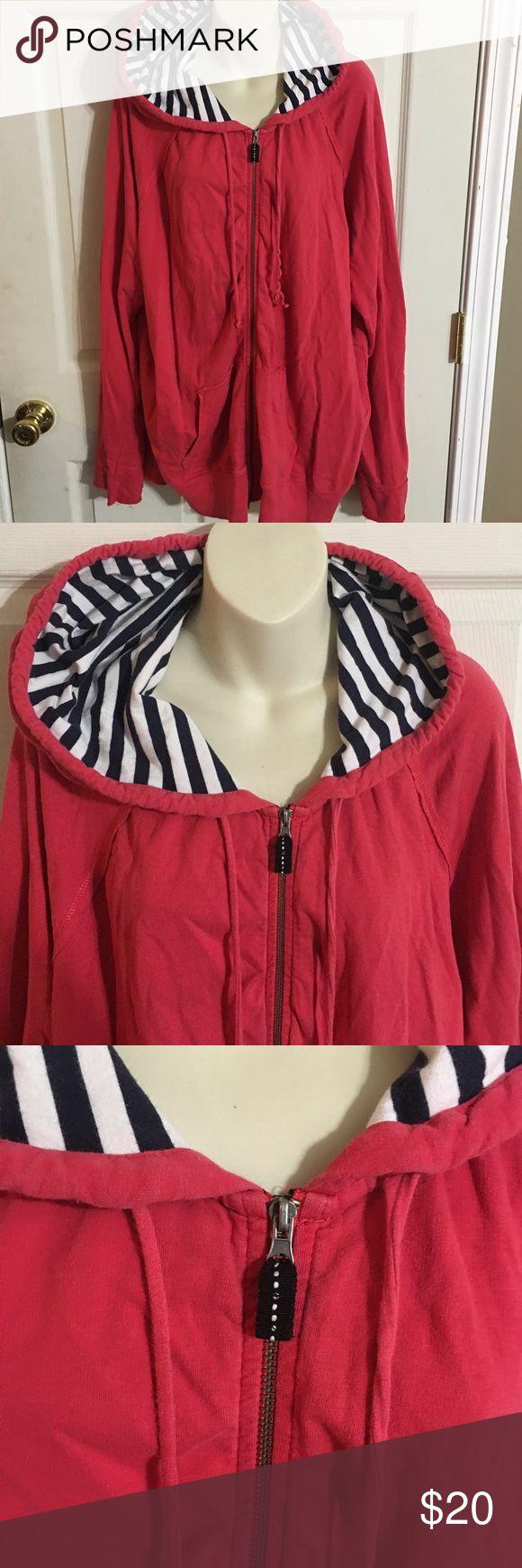 Merona Nautical Zip Up Jacket Women's Merona plus size Nautical zip up jacket size 24/26W in gently used condition.  There is minor wash wear noted.  No stains, tears or rips. Merona Jackets & Coats Utility Jackets