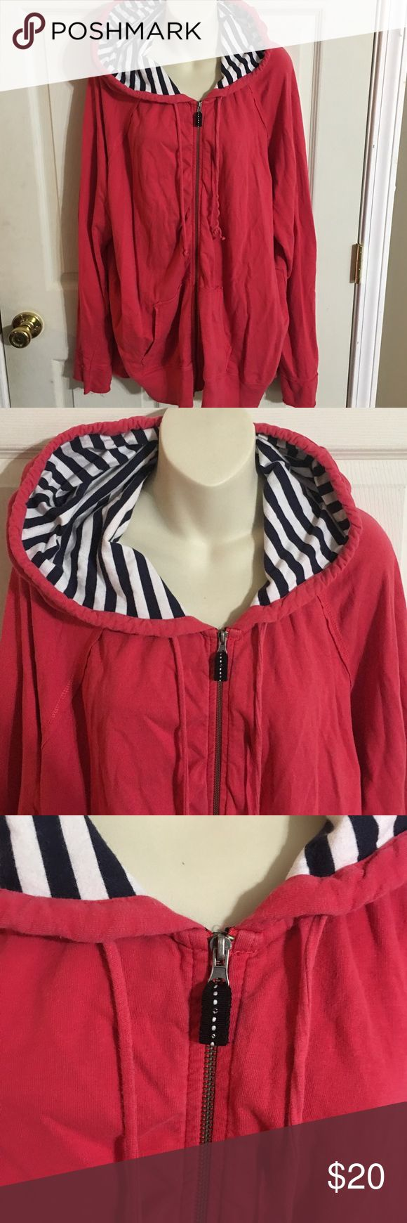 Merona Nautical Zip Up Jacket Women's Merona plus size Nautical zip up jacket size 24/26W in gently used condition.  There is minor wash wear noted.  No stains, tears or rips. Merona Jackets & Coats Utility Jackets