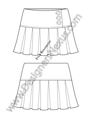 Plantilla Sketch Fashion V54 corta falda plisada Illustrator plana