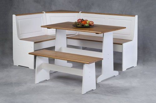 Linon Home Decor Products Ardmore Nook in White With Pine Accent Color: Natural/White. Size: Sizes Vary. This nook features white finishing with natural pine tops.. Makes great use of corner spaces!. Breakfast has never been so stylish!.  #Linon_Home_Decor_Products_Inc #Furniture