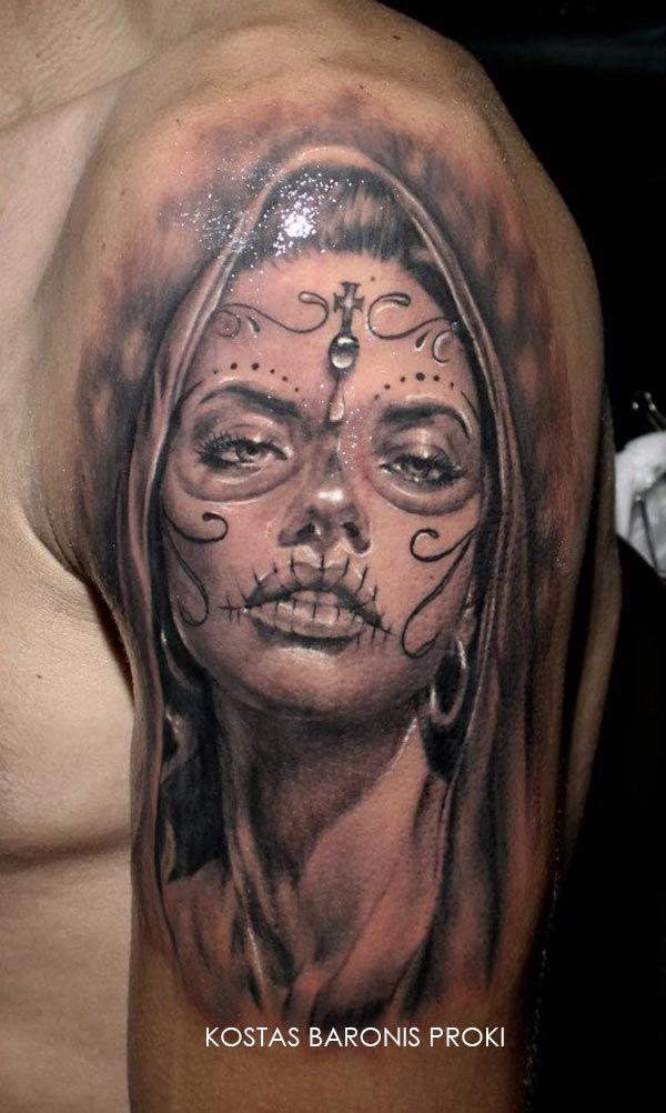 Tatouage d'une santa muerte / katrina sur le bras