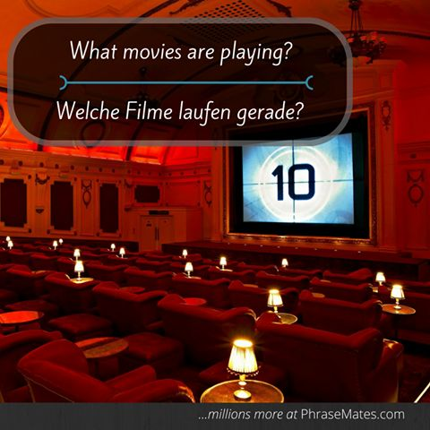 Enjoy a night out at the movies! Ask which movie you should see at your local cinema with this phrase.