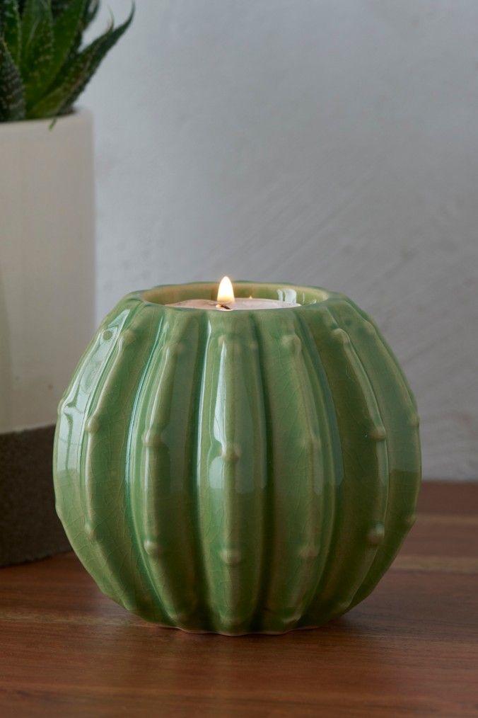 Next Cactus Tealight Holder - Green