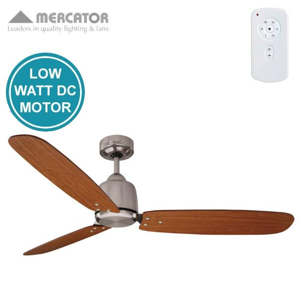"""Rio DC Ceiling Fan With Remote - Brushed Chrome with Dark Cherry Blades 52"""""""
