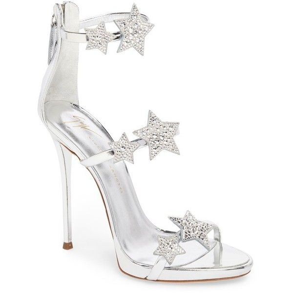 Women's Giuseppe Zanotti Coline Embellished Star Strap Sandal (€970) ❤ liked on Polyvore featuring shoes, sandals, silver, silver strap sandals, strap sandals, silver embellished sandals, strappy stilettos and tall sandals