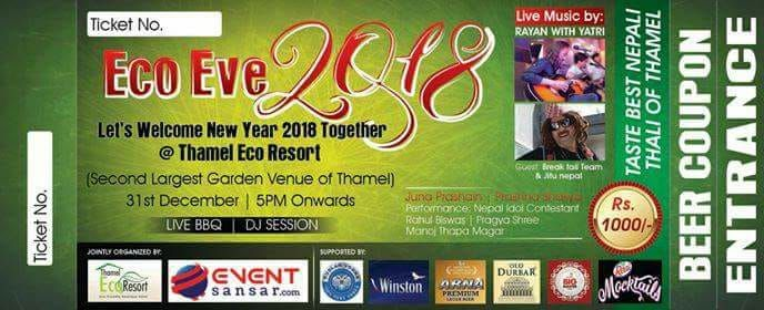 #ECOHOTELS #NYE #SWD #GREEN2STAY Thamel Eco Resort  Let's celebrate the New Year Eve with a Musical Live and Dinner program at our hotel. Follow your Musical live entertainment,drinks and fun till midnight in open garden. Contact: 01- 4215863,Thamel Eco Resort. Location: Thamel Eco Resort Garden, Thamel,Near Narshing Chowk, Chibahal Club. http://www.green2stay.com/asia-pacific-eco-hotels