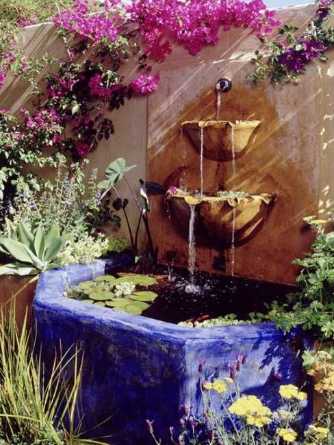 Mexican Style Garden Designs and Yard Landscaping Ideas [ MexicanConnexionForTile.com ] #fountains