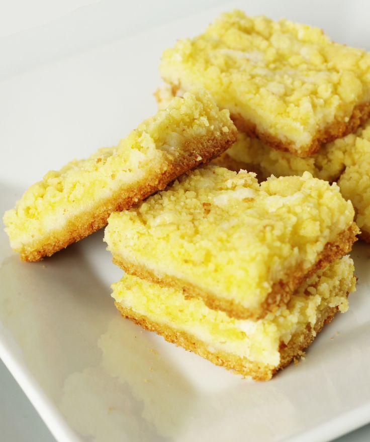 Cream Cheese Lemon Bars: 1 pkg. Lemon cake mix- 1/3 cup vegetable oil- 1 egg- 8 oz. pkg. cream cheese- 1 Tbsp. lemon juice- 1 egg- 1 cup sugar.../click to see.. EASY !!!