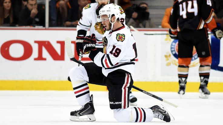 ANAHEIM, CA - MAY 30: Jonathan Toews #19 of the Chicago Blackhawks celebrates his second goal in the first period against the Anaheim Ducks in Game Seven of the Western Conference Finals during the 2015 NHL Stanley Cup Playoffs at the Honda Center on May 30, 2015 in Anaheim, California. (Photo by Harry How/Getty Images)