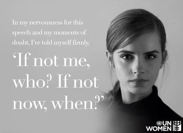 """Emma Watson, v roli vyslankyní dobré vůle UN Women, propaguje kampaň HeForShe. """"Ve své nervozitě před projevem, ve momentě pochybností, jsem si rozhodně řekla: Kdo, když ne já? Kdy, když ne teď?""""  Foto: UN Women Přidala bea k článku He4She"""
