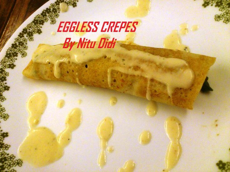 EGGLESS CREPES FILLED WITH MUSHROOMS N ASPARAGUS WITH 2 SAUCES http ...