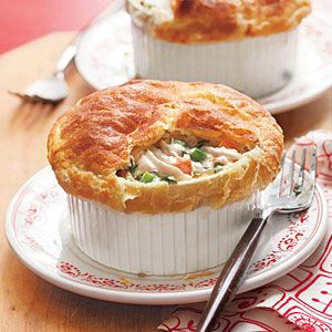Classic Chicken Potpie   MyRecipes.com  I made these and it is amazing!! I made in a large glass baking dish instead of individuals...mmmm