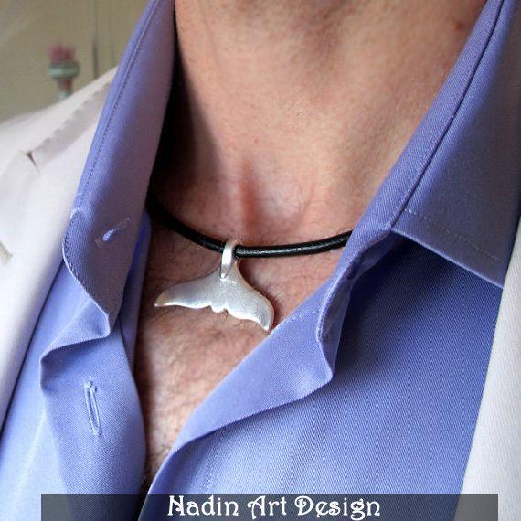 Herren Halskette. Wal Schwanz Silber Anhänger von NadinArtDesign auf DaWanda.com