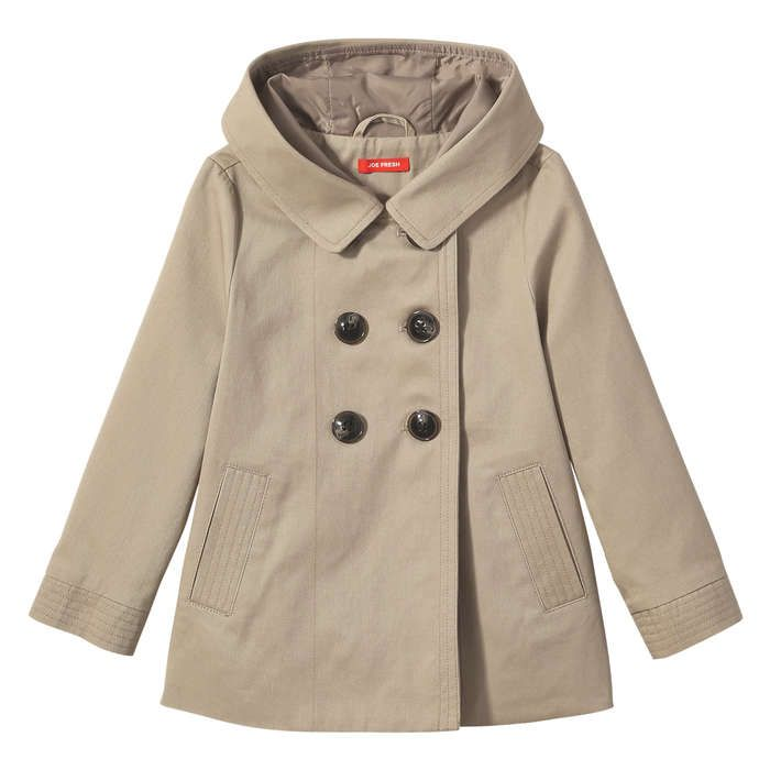 Toddler Girl's Hooded Trench Coat from Joe Fresh. It's raining, it's pouring but she'll always be dry in our trench coat with a hood. Only $35.