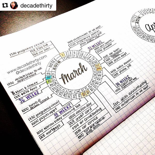 This is why I love #bulletjournaling. Check out @decadethirty #futureplanning post from March. I've never seen anything like it. I love the sleek design. Bravo! #Repost @decadethirty (via @repostapp) ・・・ - this was a future planning hack I created in Marc