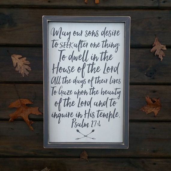 Children's Prayer, Psalm 27:4, Rustic wall art, Nursery Sign, Little boy sign, prayer painted on wood