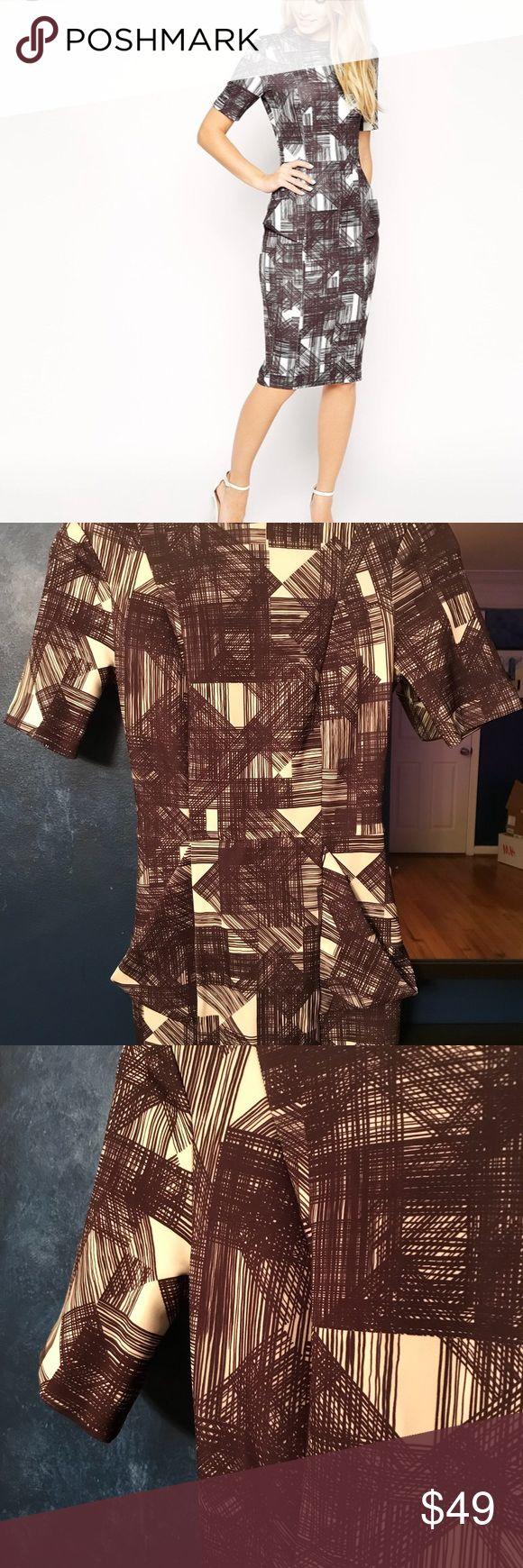 ASOS wiggle dress, new ASOS wiggle dress with gold pockets, sketchy mini print, scuba fabric ASOS Dresses Midi