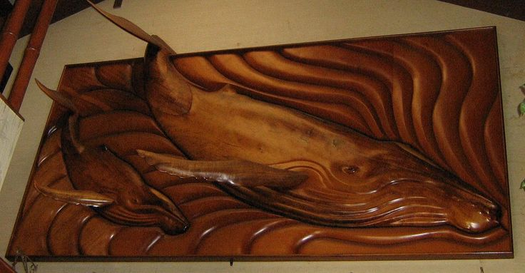 Tropical relief carving whales wildlife wood carvings