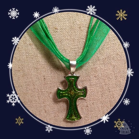 "Semi glass cross necklace TV$20 Semi glass cross pendant necklace on green ribbon   Necklace is 16"" long Jewelry Necklaces"
