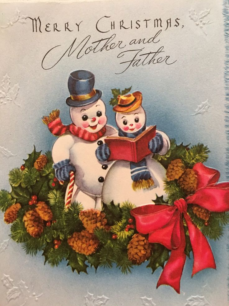 Vintage Christmas Card, Mother and Father, Snowman and Snowoman ...