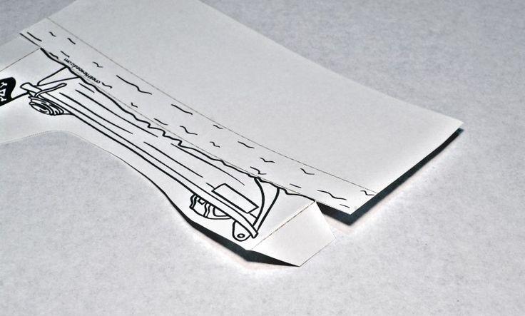 Printable Paper City Pirate Craft - Longboat fold 1