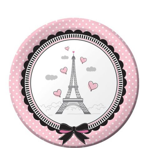 Pink Paris Dessert Plates 8ct - Party City