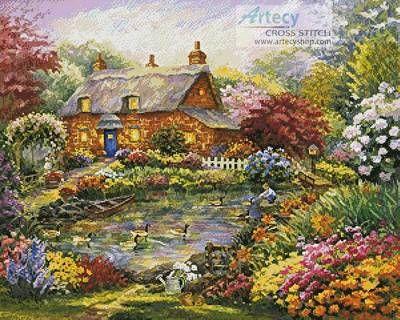 Summer Cottage cross stitch pattern.