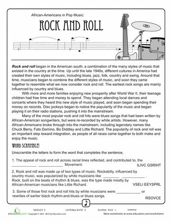 history of rock 39 n 39 roll worksheets history and rock. Black Bedroom Furniture Sets. Home Design Ideas