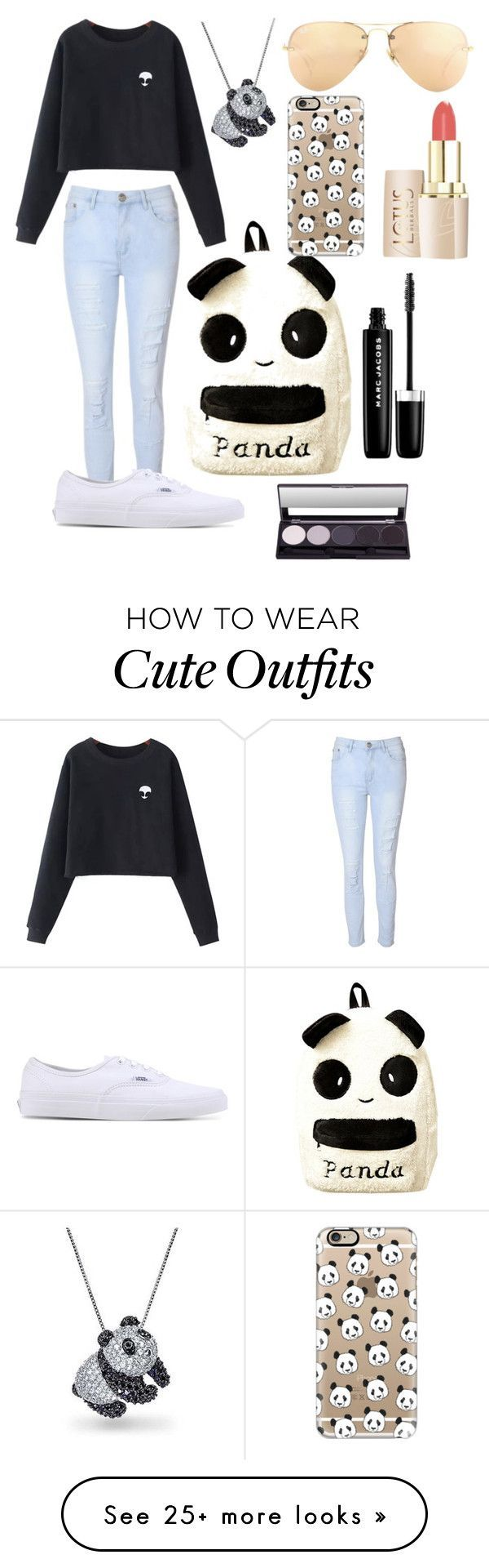 """Panda outfit for school"" by mimmykitty327 on Polyvore featuring Glamorous, Chicnova Fashion, Vans, Casetify, Bling Jewelry, Ray-Ban and Marc Jacobs - clothing, moda, urban outfitters, casual, outfits, beach clothes *ad"