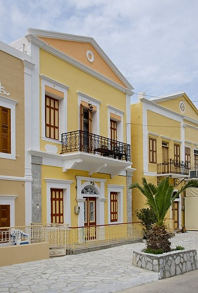 A typical colorful house in the town of Symi, Island of Symi, Greece.
