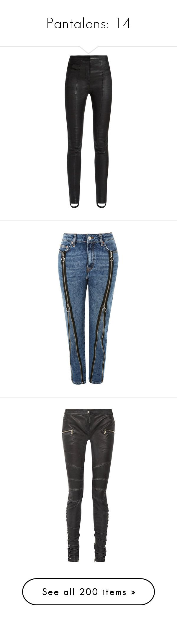 """""""Pantalons: 14"""" by laurie-1994 ❤ liked on Polyvore featuring pants, bottoms, black, high-waisted leather pants, high-waisted pants, balmain pants, leather trousers, slim fitted pants, jeans and blue colour jeans"""