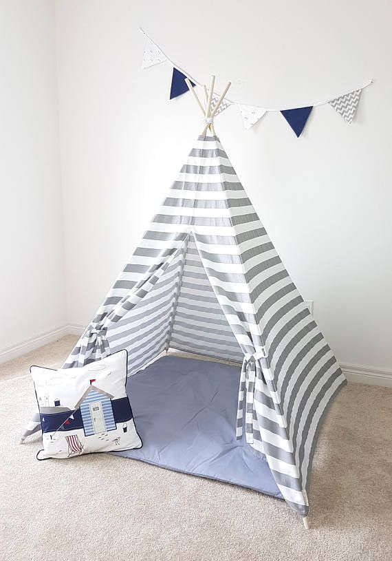 Grey White Stripes Kid's Teepee  Tent  Tipi  Playhouse