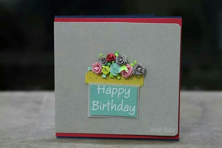 Miniature 3D roses birthday greeting template!
