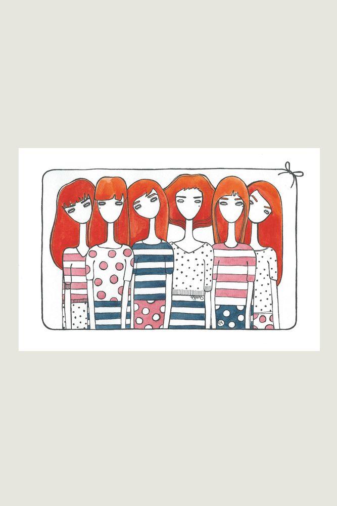 открытка №29 #card #otkritka #happy #postcrossing #girl #red #blue #black #postcard #postal #watercolor #color #sketch #art #eyebrows  #hair #heart  #sea #azure #princess #Redhead #ginger #foxy #carroty