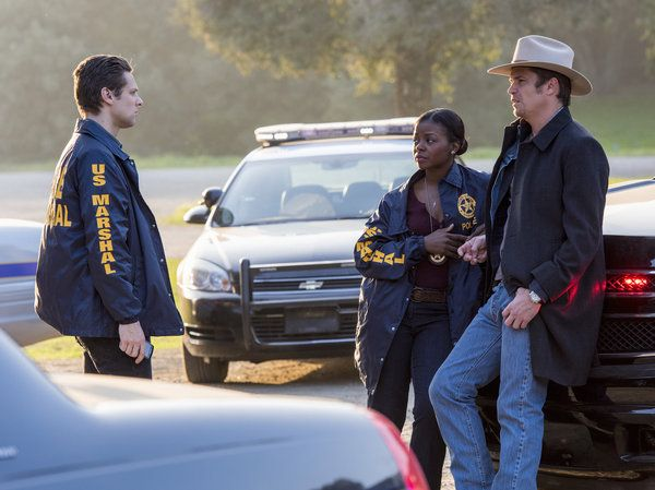Deputy U.S. Marshal Tim Gutterson (Jacob Pitts), Deputy U.S. Marshal Rachel Brooks (Erica Tazel), and Deputy U.S. Marshal Raylan Givens (Timothy Olyphant).