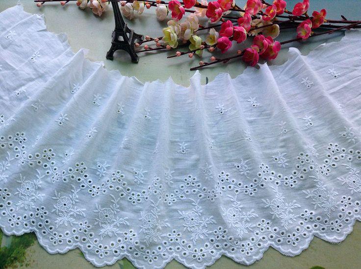 Хлопок белый хлопок вышивка ткани кружева белый хлопок вышивка кружева 22 см