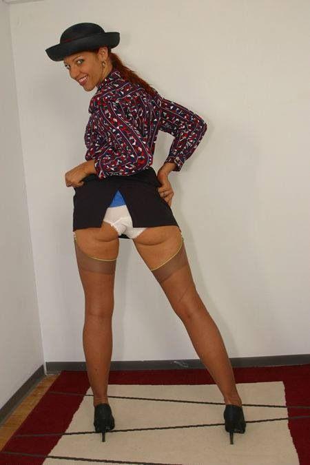 Valuable windy upskirt air hostess
