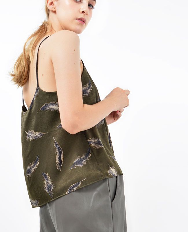 Feather Bustier Top │ Shop trendy store at bosroom.com #bustier #fall #top #khaki #feathertop