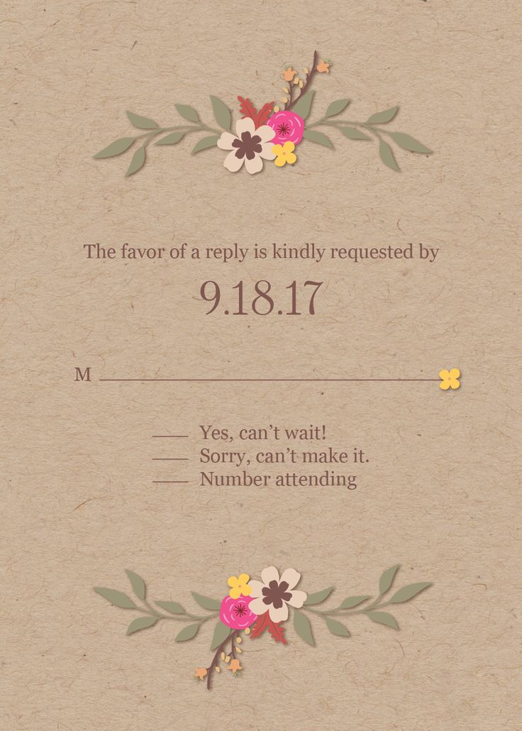 reply to wedding invitation m%0A Beautiful  kraft paper  floral reply card  great for your fall wedding to  match your invitation  Wait until you see the rest of the suite at our  website