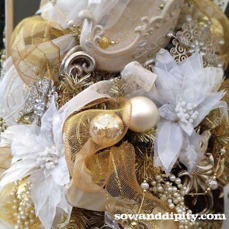 White and Gold Christmas Tree, sowanddipity.com