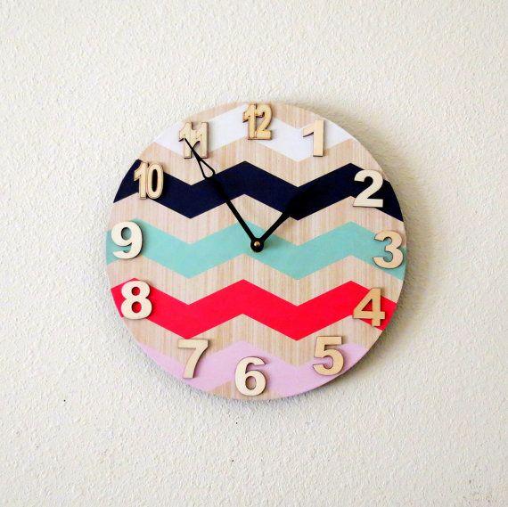 Unique Wall Clock, Home and Living, Decor and Housewares, Home Decor, Recycled Art, Chevron Stripes via Etsy