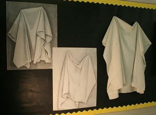 such a great idea/cool way to use bulletin board...Observational Fabric/Draping Drawing: value, pencil