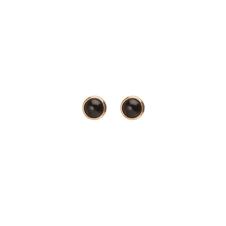 Black Stone Circle Earring