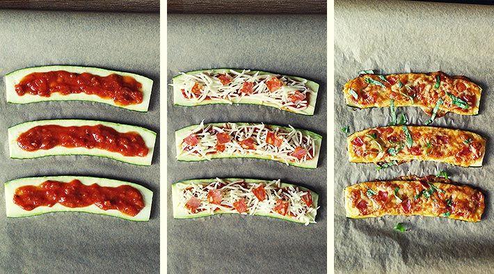 Low Carb Rezept für Low-Carb Zucchini-Pizza-Baguettes. Wenig Kohlenhydrate und einfach zum Nachkochen. Super für Diät/zum Abnehmen.