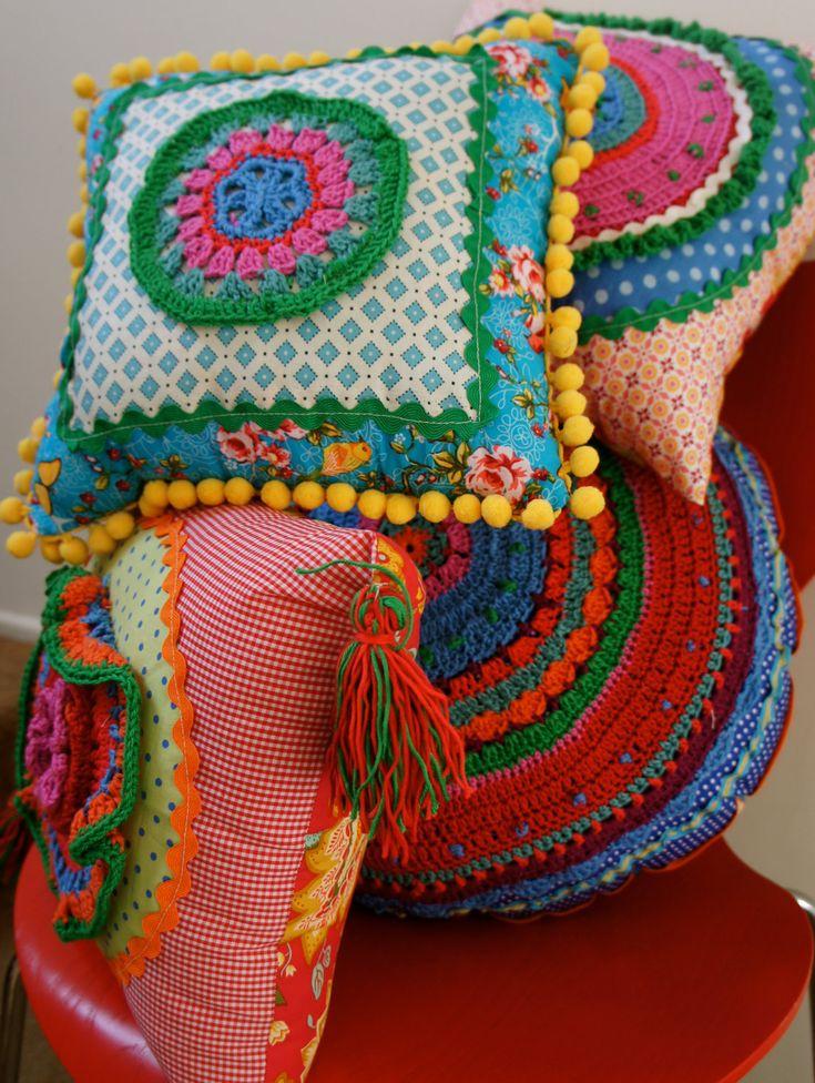 colourful cloth and crochet cushions. via Etsy. Pinspiration.