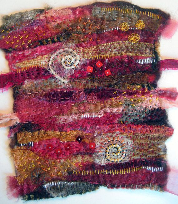 Venice fiber art by Jane LaFazio (JaneVille) Needle felted, extensively hand stitched, beads