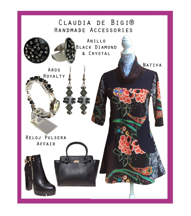 Vestido manga 3/4, botines negros, cartera de mano negra, anillo, aros y reloj con cristales Swarovski. Otoño 2016