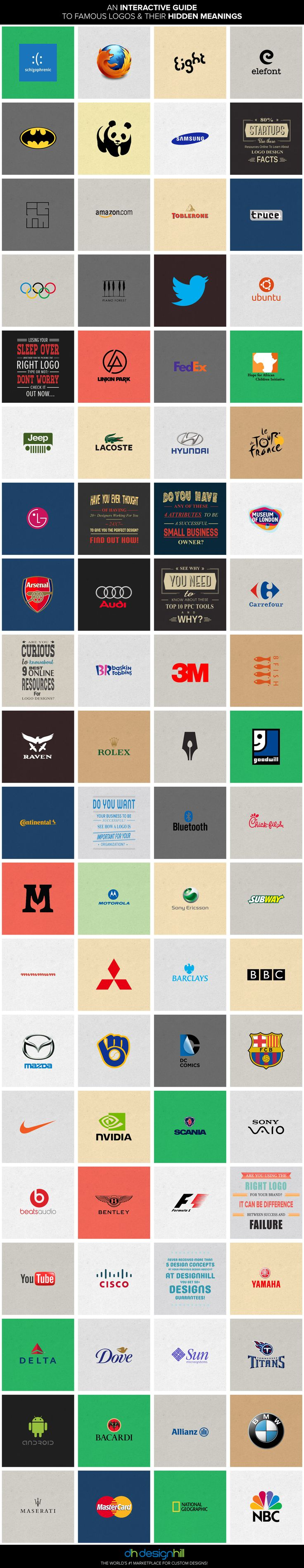 An Interactive Guide to Famous Logos & their Secret Meanings #dhlogofacts #logodesign
