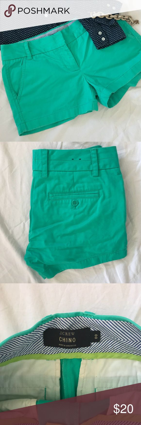 """J. Crew Chino Teal Shorts Size 00 J. Crew Chino Teal Shorts Size 00 - Excellent used condition - Measurements (lying flat): Waist ~ 15"""", Hips ~ 17"""", Length ~ 10"""", Inseam ~ 3"""" J. Crew Shorts"""