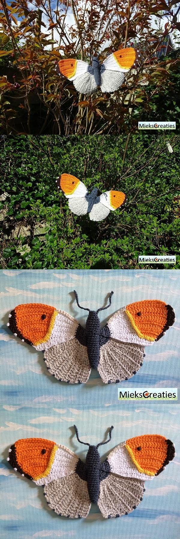Orange Tip Butterfly Amigurumi Pattern